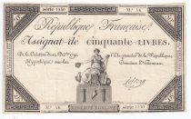 France 50 Livres France seated - 14-12-1792 - Sign. Leclerc - F+