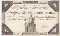 France 50 Livres France seated - 14-12-1792 - Sign. Leclerc