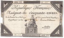 France 50 Livres France seated - 14-12-1792 - Sign. Linreler - VG to F