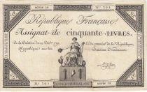 France 50 Livres France seated - 14-12-1792 - Sign. Linreler