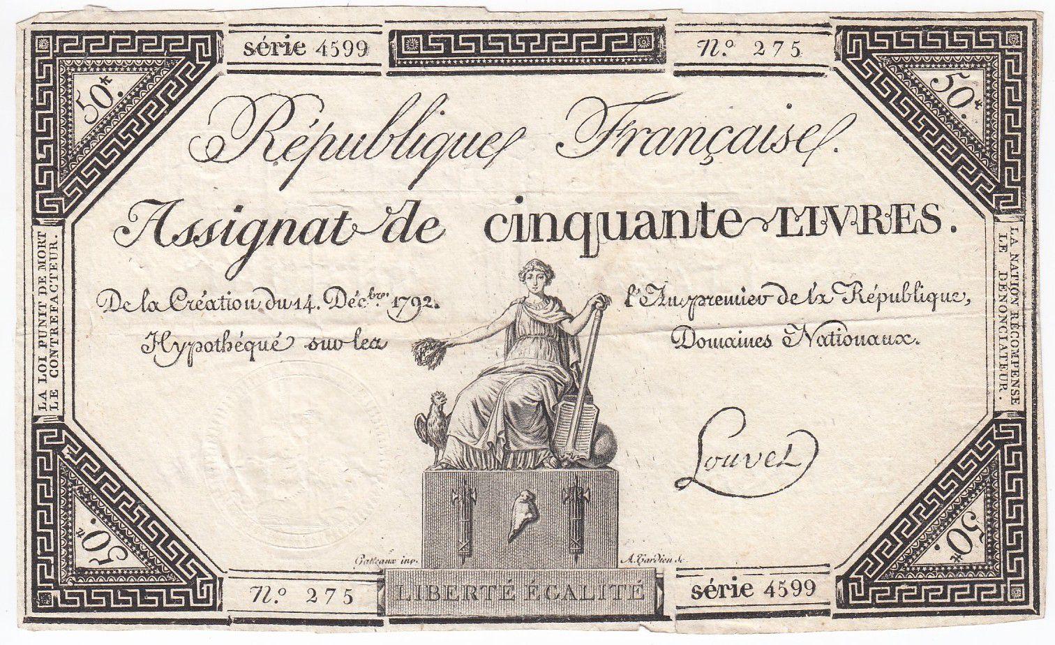 France 50 Livres France seated - 14-12-1792 - Sign. Louvet - VF