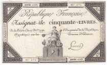 France 50 Livres France seated - 14-12-1792 - Sign. Louvet - VF