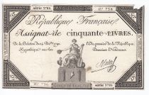 France 50 Livres France seated - 14-12-1792 - Sign. Mala - F+