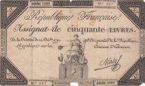 France 50 Livres France seated - 14-12-1792 - Sign. Mala