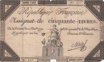 France 50 Livres France seated - 14-12-1792 - Sign. Mala