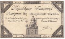 France 50 Livres France seated - 14-12-1792 - Sign. Migno - VF