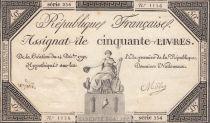 France 50 Livres France seated - 14-12-1792 - Sign. Mille