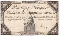 France 50 Livres France seated - 14-12-1792 - Sign. Pardon - F