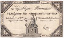 France 50 Livres France seated - 14-12-1792 - Sign. Pardon - F