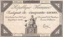 France 50 Livres France seated - 14-12-1792 - Sign. Pardon