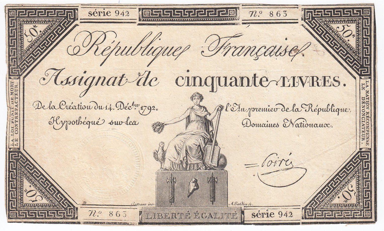 France 50 Livres France seated - 14-12-1792 - Sign. Poiré - VF