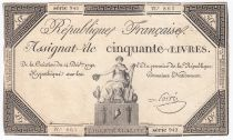 France 50 Livres France seated - 14-12-1792 - Sign. Poiré - VF