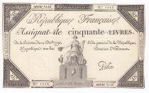France 50 Livres France seated - 14-12-1792 - Sign. Police - VF