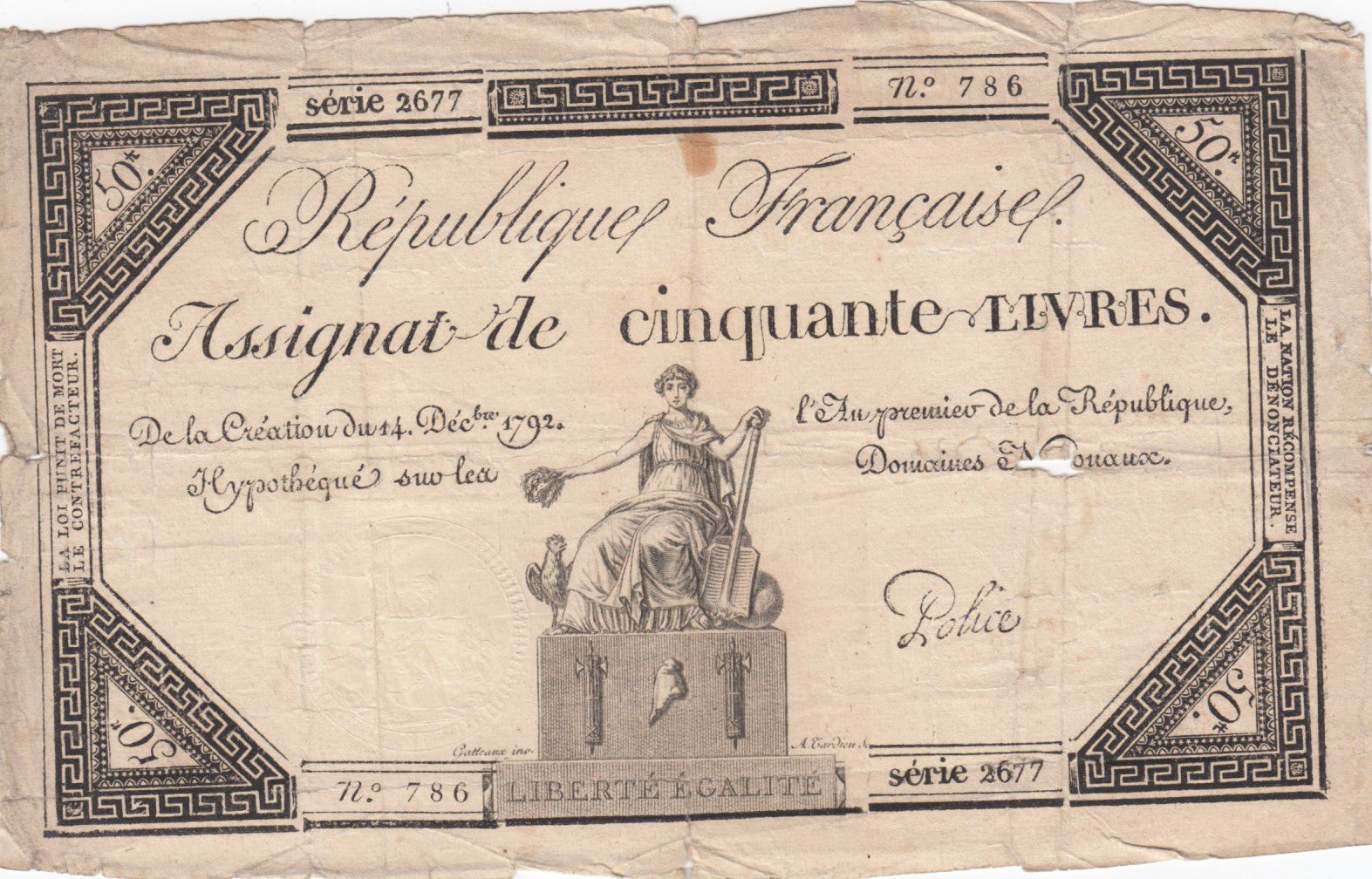 France 50 Livres France seated - 14-12-1792 - Sign. Police