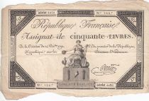 France 50 Livres France seated - 14-12-1792 - Sign. Pradier - VF
