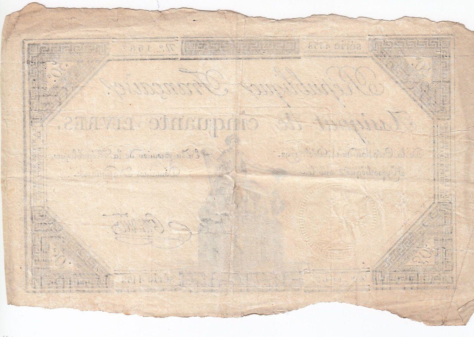 France 50 Livres France seated - 14-12-1792 - Sign. Pradier - VF