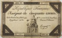 France 50 Livres France seated - 14-12-1792 - Sign. Ringuet - Serial 508 - F