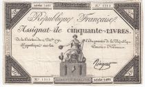 France 50 Livres France seated - 14-12-1792 - Sign. Ringuet - VF