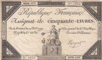 France 50 Livres France seated - 14-12-1792 - Sign. Ringuet