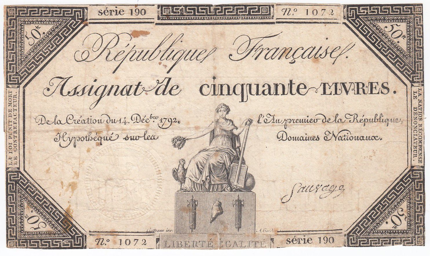 France 50 Livres France seated - 14-12-1792 - Sign. Sauvage - VG to F