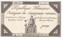 France 50 Livres France seated - 14-12-1792 - Sign. Sauvage - XF