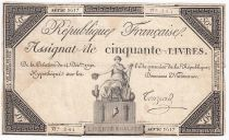 France 50 Livres France seated - 14-12-1792 - Sign. Touzard - F+