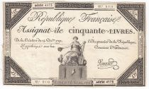 France 50 Livres France seated - 14-12-1792 - Sign. Vermond - VF