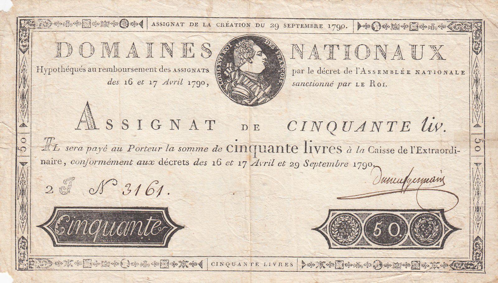 France 50 Livres Louis XVI - 29-09-1790 Série 2J - Sign. Duneuf-Germain - PTTB