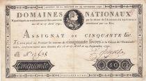France 50 Livres Louis XVI - 29-09-1790 Série B - Sign. Defargues - TTB