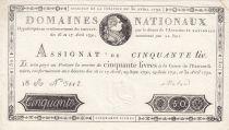 France 50 Livres Louis XVI - 30-04-1792 Série 18A - SUP