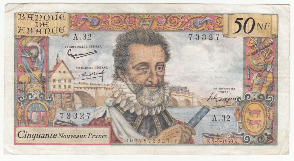 France 50 NF Henri IV - 03-09-1959 Serial A.32 - VF - P. 143