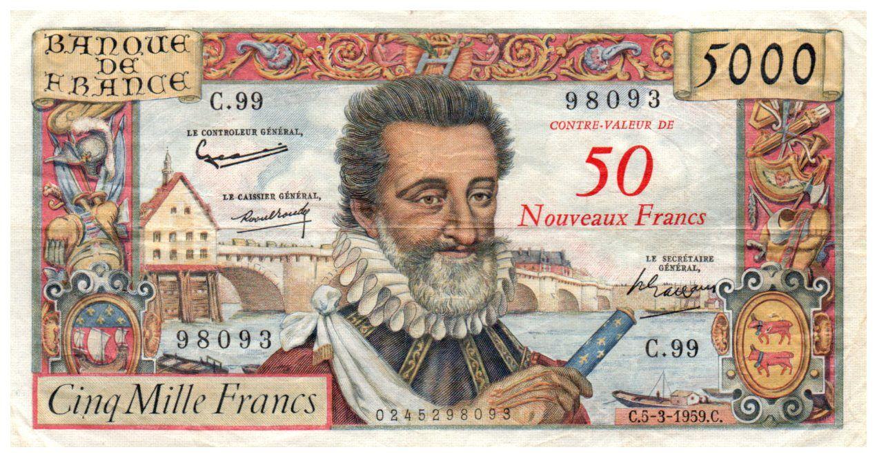 France 50 NF on 5000 Francs Henri IV - 05-03-1959 - Serial C.99 - VF