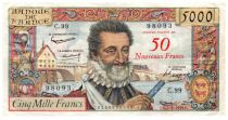France 50 NF on 5000 Francs Henri IV - 05-03-1959 - Serial C.99 - VF