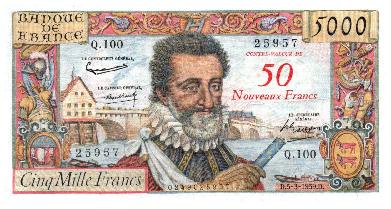 France 50 NF on 5000 Francs Henri IV - 05-03-1959 - Serial Q.100 - VF