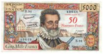 France 50 NF on 5000 Francs Henri IV - 30-10-1958 - Serial B.94 - VF