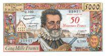 France 50 NF sur 5000 Francs Henri IV - 05-03-1959  - Série Q.100 - TTB