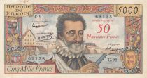 France 50 NF sur 5000 Francs Henri IV - 30-10-1958 Serial C.91 - VF