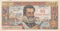 France 50 NF sur 5000 Francs Henri IV - 30-10-1958 Série C.91 - TTB