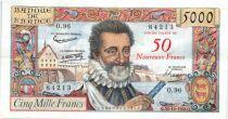 France 50 NF sur 5000 Francs sur 5000 Francs, Henri IV - 30-10-1958 Série O.96