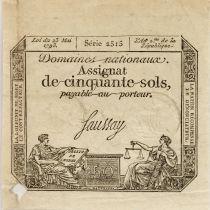 France 50 Sols Liberté et Justice (23-05-1793) - Sign. Saussay - Série 2515 - PTTB