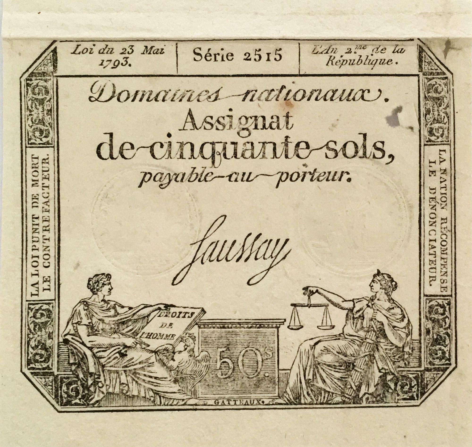 France 50 Sols Liberté et Justice (23-05-1793) - Sign. Saussay - Série 2515 - TTB+