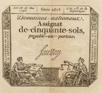France 50 Sols Liberté et Justice (23-05-1793) - Sign. Saussay - Série 2515 - TTB