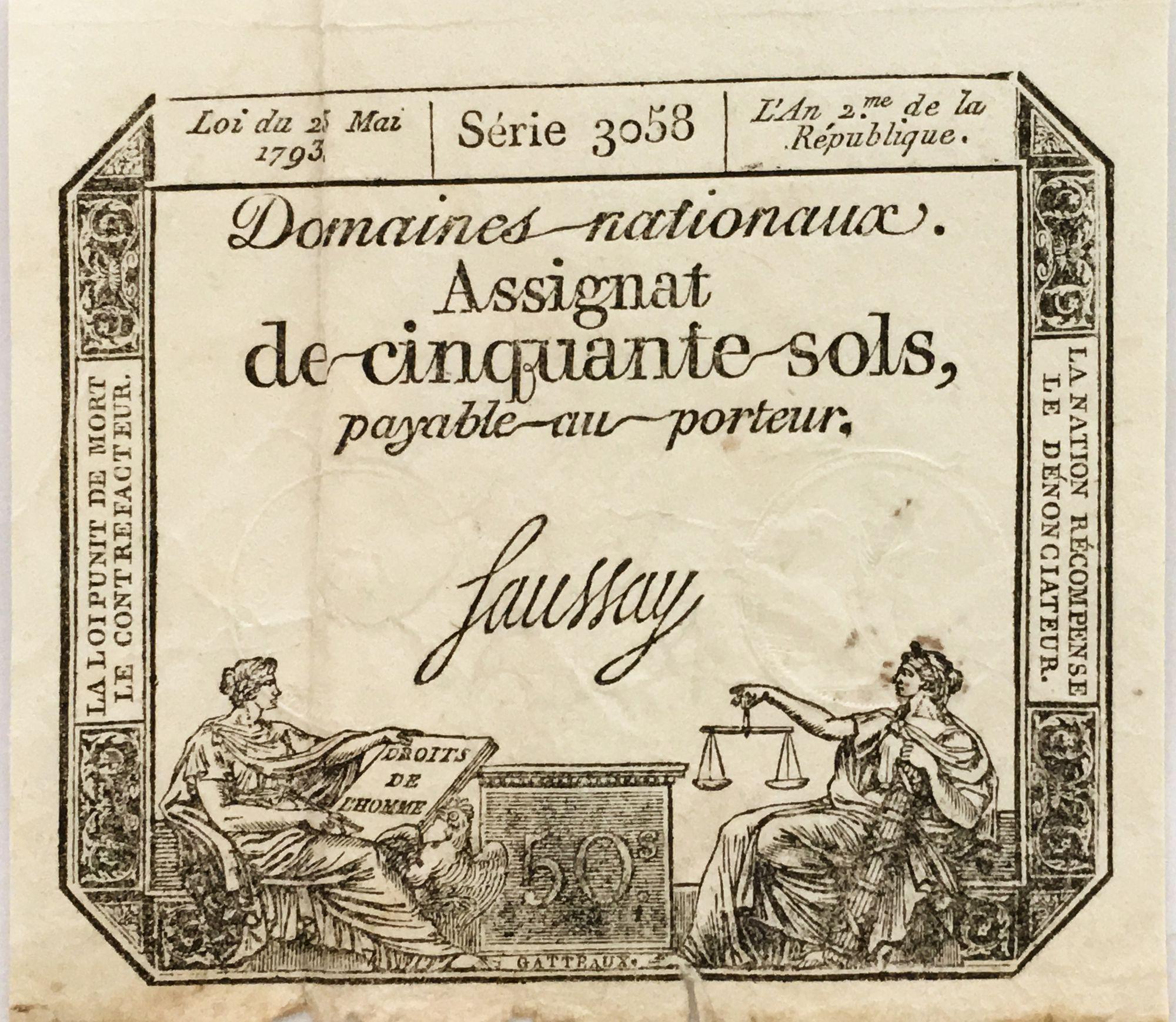 France 50 Sols Liberté et Justice (23-05-1793) - Sign. Saussay - Série 3058 - TB+