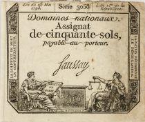 France 50 Sols Liberté et Justice (23-05-1793) - Sign. Saussay - Série 3058 - TTB