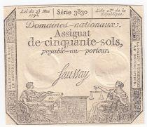 France 50 Sols Liberté et Justice (23-05-1793) - Sign. Saussay - Série 3830 - SUP