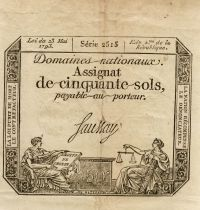 France 50 Sols Liberty and Justice (23-05-1793) - Sign. Saussay - Serial 2515 - F+