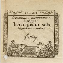 France 50 Sols Liberty and Justice (23-05-1793) - Sign. Saussay - Serial 2515 - F to VF