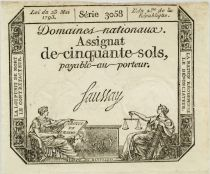 France 50 Sols Liberty and Justice (23-05-1793) - Sign. Saussay - Serial 3058 - VF+
