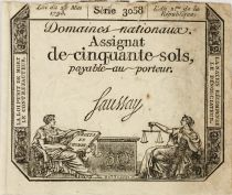 France 50 Sols Liberty and Justice (23-05-1793) - Sign. Saussay - Serial 3058 - VF