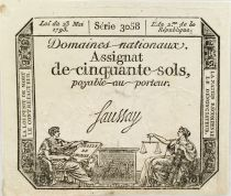 France 50 Sols Liberty and Justice (23-05-1793) - Sign. Saussay - Serial 3058 - XF